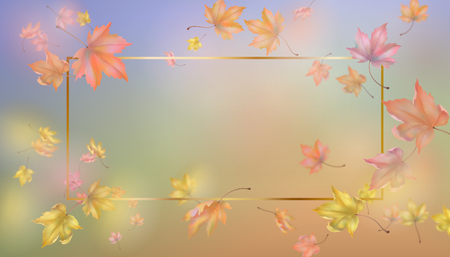 Abstract golden frame with flying autumn leaves. Vector background with blurred transparent elements