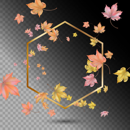 Gold vector frame with flying or falling maple leaves. Vector abstract autumn background