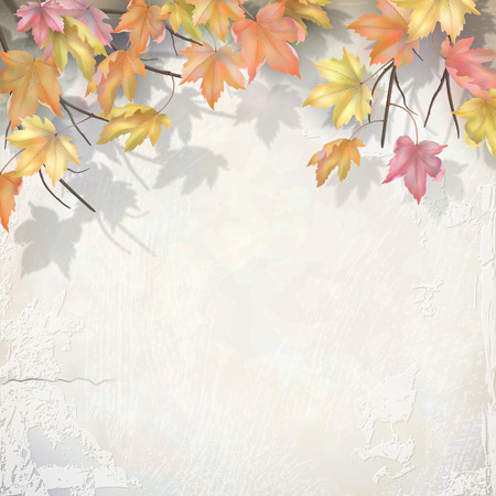 Autumn branch with maple leaves on decorative plaster wall. Vector fall background Ilustração