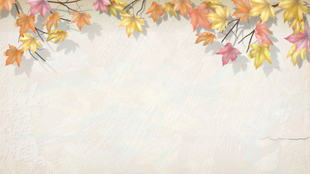 Autumn branch with maple leaves on decorative plaster wall. Vector fall background Illustration