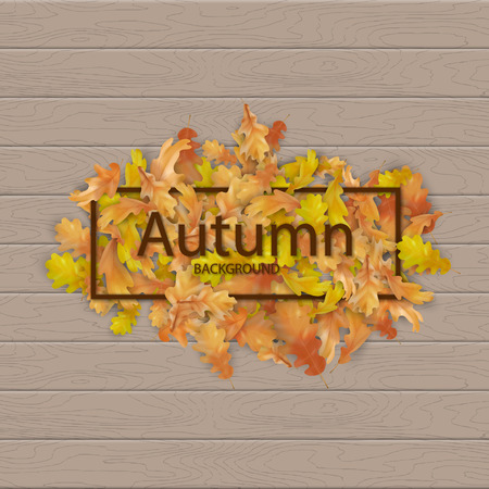 Autumn frame with fallen leaves on a wooden background 일러스트