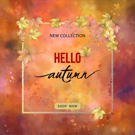 Autumn banner with frame