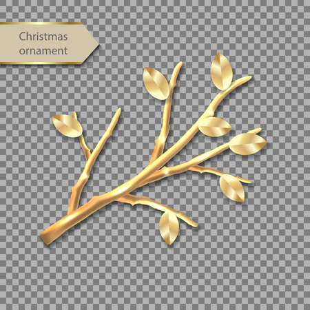 Vector gold twig. Metal branch with leaves. Golden festive Christmas decoration. Luxury jewelry