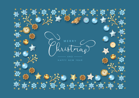 Merry Christmas and New Year Greeting Card. Christmas composition with festive decorations