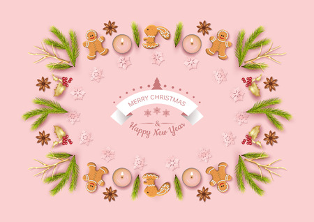 Merry Christmas and Happy new year top view background. Christmas greeting illustration with festive decoration