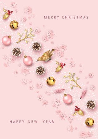 Merry Christmas and Happy new year top view background. Christmas greeting illustration with festive decoration. Minimalistic design