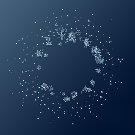 Winter abstract frame composed of shiny snowflakes and stars. Christmas and New Year vector decorative blue background with ice crystal snowflakes
