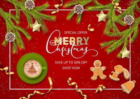 Merry Christmas and Happy new year sale banner. Christmas wooden background with festive decorations Çizim
