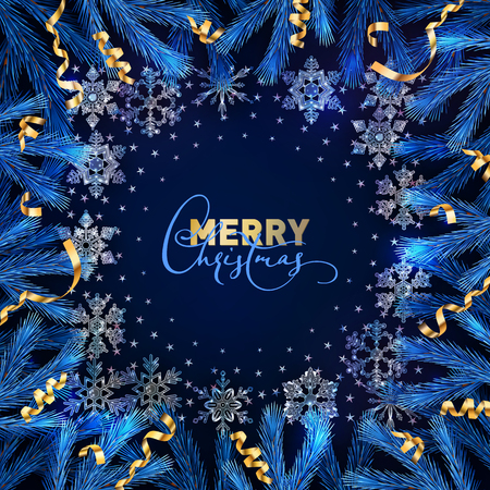 Christmas and New Year vector decorative dark blue background with ice crystal snowflakes, fir tree branches and the golden serpentine