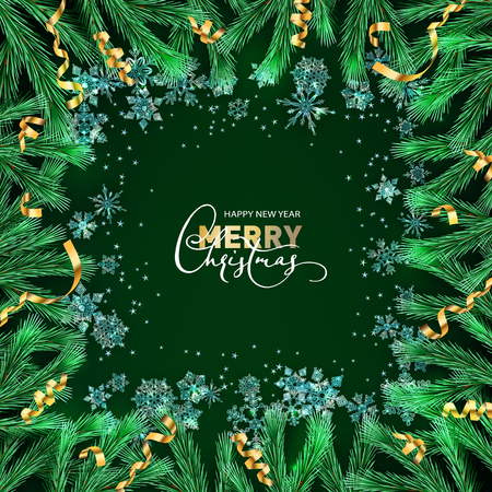 Christmas and New Year vector decorative green background with ice crystal snowflakes, fir tree branches and the golden serpentine