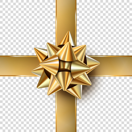 Vector Christmas gold realistic bow. Isolated gift bow with ribbons