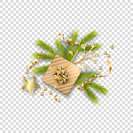 Christmas vector festive ornament. Holiday decorations. Isolated objects on transparent background Çizim