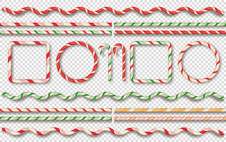 Christmas candy borders and frames. Christmas candy elements. Vector illustration
