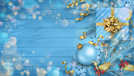 Christmas vector top view background with fir twigs, Christmas gold ornaments and gifts on wooden table Çizim