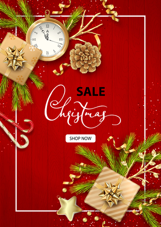 Merry Christmas and Happy new year sale banner. Festive Christmas tree decorations on wooden red background