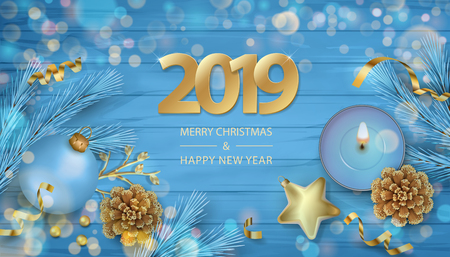 Christmas vector festive top view background with fir twigs, Christmas ornaments and 2019 Numbers on wooden table