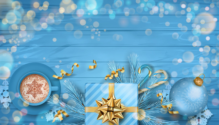 Christmas vector festive top view background with fir twigs, Christmas gold ornaments and gifts on blue wooden table
