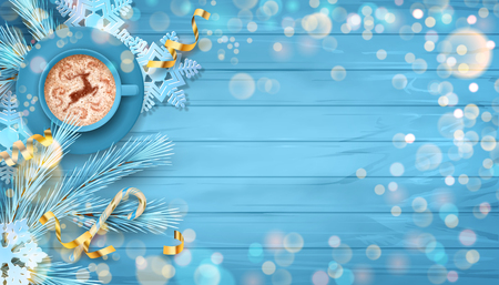 Christmas vector festive top view background with fir twigs, Christmas gold ornaments on blue wooden table Çizim
