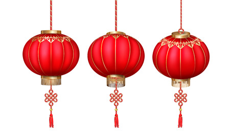 Vector set of hanging Chinese paper lanterns for Happy New Year on white background