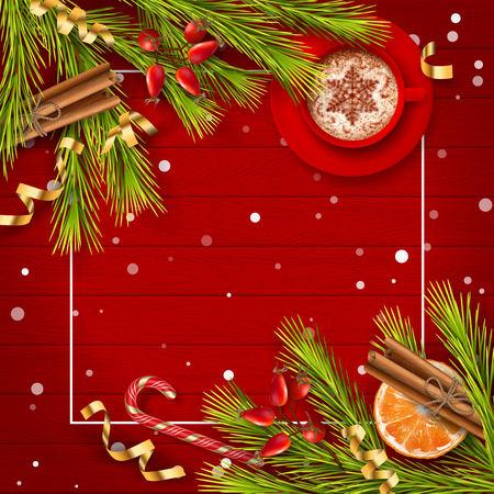 Christmas vector top view background with spruce branches, Christmas gold ornament, cup of coffee and decorations on red wooden table