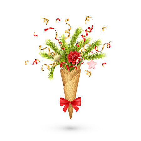 Creative minimalist Christmas composition in a waffle cone of coniferous branches, berries and decorations