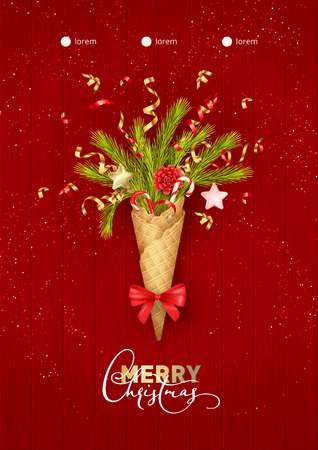 Merry Christmas and Happy New Year composition in a waffle cone of coniferous branches. Festive Christmas tree decorations on wooden red background. Christmas party poster