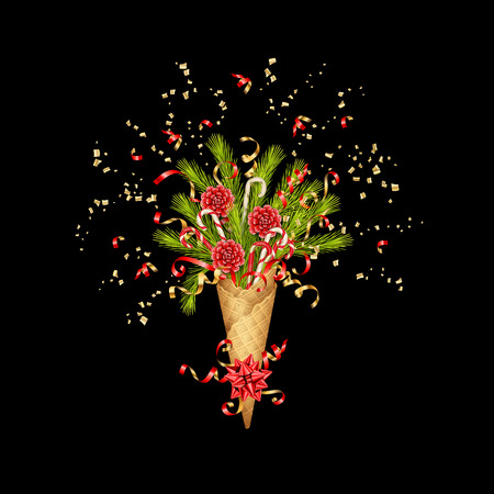 Christmas composition in a waffle cone of coniferous branches and decorations on black background