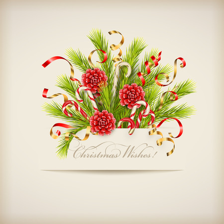Merry Christmas and Happy New Year bouquet of coniferous branches with paper banner. Festive Christmas tree decorations Çizim