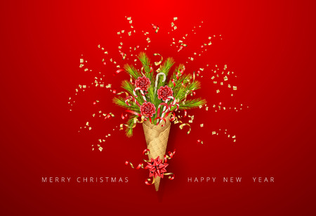 Merry Christmas and Happy New Year bouquet in a waffle cone of coniferous branches. Festive Christmas tree decorations and flying streamer on red background