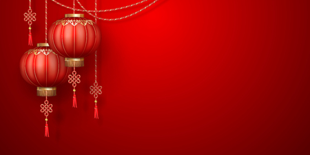 Classic Chinese new year background. Hanging paper lanterns on red background Çizim