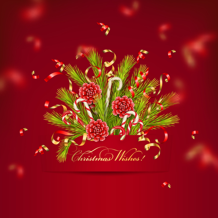 Merry Christmas and Happy New Year bouquet of coniferous branches with paper banner and flying streamer. Festive Christmas tree decorations Çizim