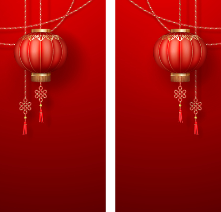 Chinese New Year vertical banners. Hanging silk lanterns and gold cords on red background