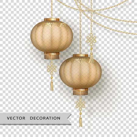 Hanging silk lanterns and gold cords on transparent background. Chinese New Year decorations Çizim