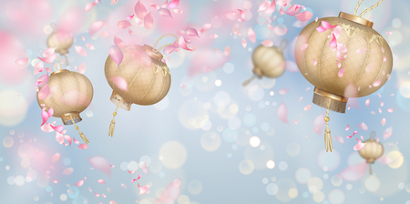 Flying petals and silk lanterns on a blue background. Flowers and petals in the wind. Chinese New Year background Vectores