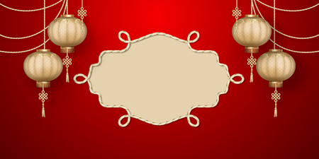 Classic Chinese new year background. Hanging silk lanterns and golden frame on red background