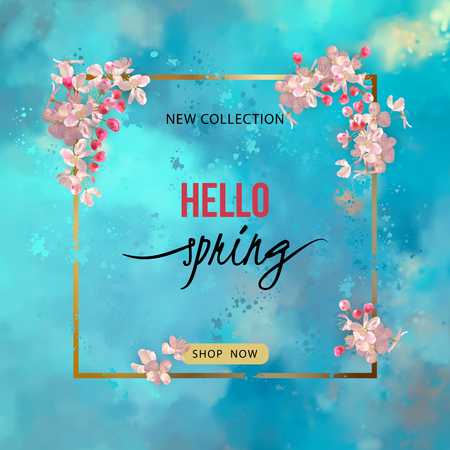 Vector spring background with plum or cherry blossom, lettering and a frame on a blue watercolor background