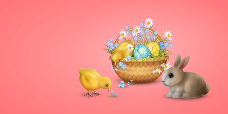 Retro Easter Background. Vector basket full of eggs, spring flowers, cute little rabbit and chickens