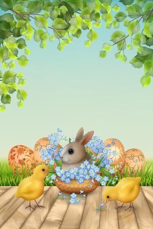 Happy Easter Background Standard-Bild - 117280548