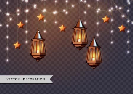 Lámparas Árabes Brillantes Ilustración de vector