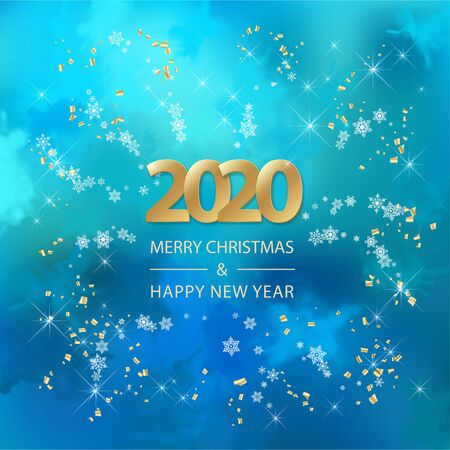 Abstract vector Christmas and New Year background with 2019 Numbers, snowflakes and flying serpentine
