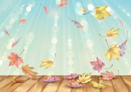 Leaves swirling in the wind. Autumn abstract background