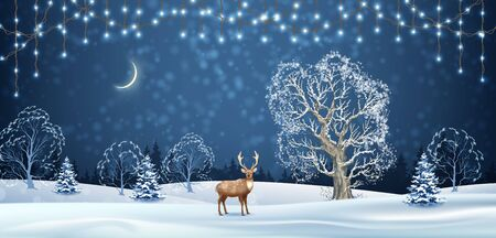 Christmas winter background. Vector holidays landscape with a deer. Winter night landscape