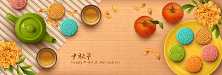 Mid autumn festival design. Teapot, tea cups, flowers and moon cakes. Top view vector illustration. Translation of Chinese characters - Mid Autumn Festival Çizim