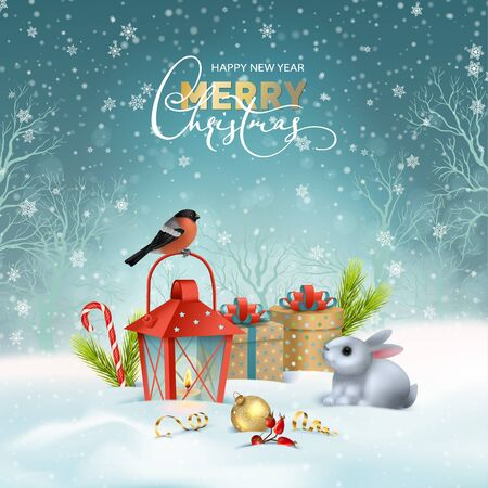 Christmas holiday card. Vector winter landscape. Winter snow-covered scene with a lantern, gifts, a bird and a cute Bunny