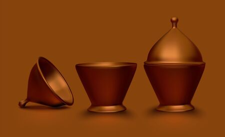 Set of copper dishes Ilustrace