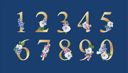 Floral Alphabet Font Vektoros illusztráció