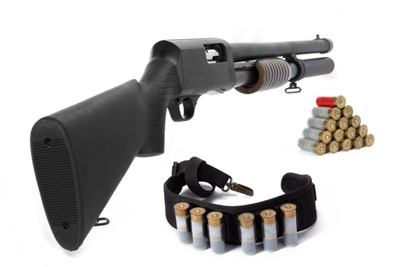 Image of a hunting rifle and ammunition on white background photo