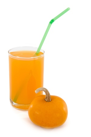 Pumpkin juice in a glass, isolated, white background