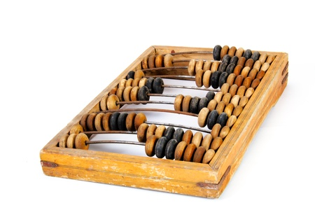 calculated: Old wooden abacus with a calculated sum, isolated, on a white background Stock Photo