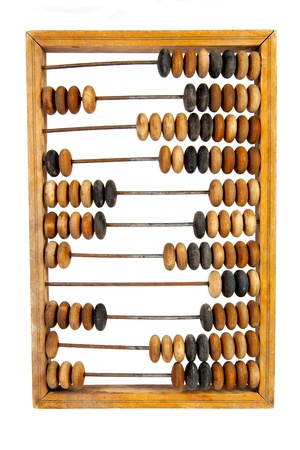 Old wooden abacus with a calculated sum, isolated, on a white background Stock Photo